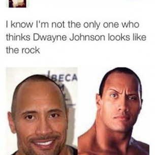 a silly comment that does not recognise that the rock and dwayne johnson are the same person